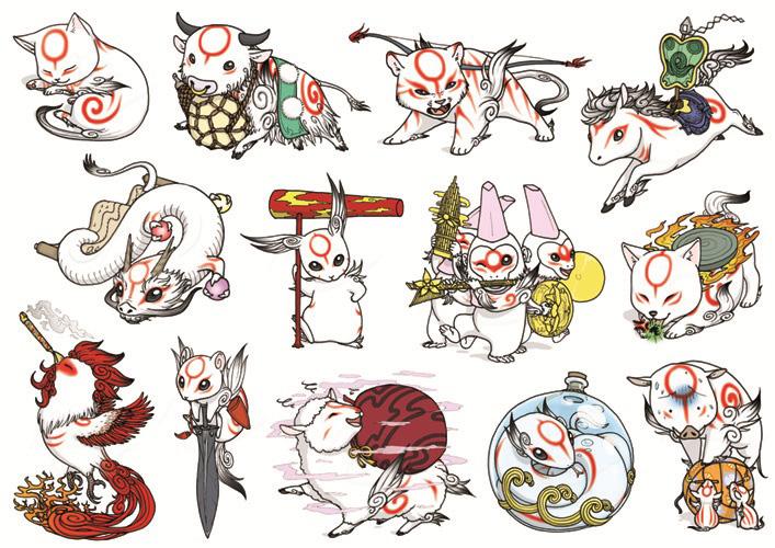 Okami Chibi Set by Birvan