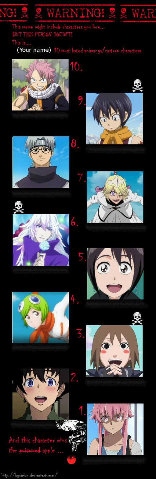 Top 6 Anime Characters : My top most hated anime characters by eternalsnow