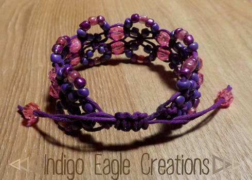Purple Beaded Drawstring Bracelet