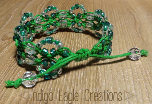 Green Beaded Drawstring Bracelet