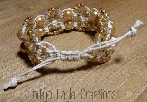 Golden Beaded Drawstring Bracelet