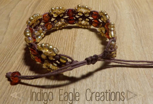 Brown Beaded Drawstring Bracelet
