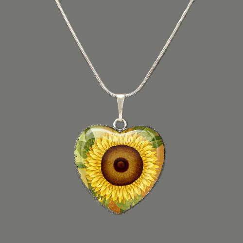 Sunflower Glass Heart Pendant by sevvysgirl