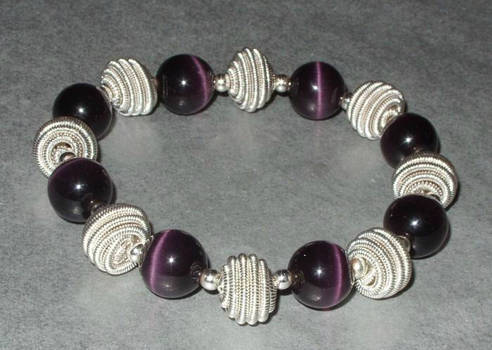 Vintage Purple Glass Bead Swirl Bracelet