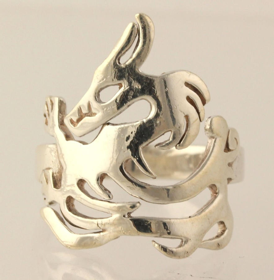 Vintage Sterling Silver Bold Dragon Ring by sevvysgirl