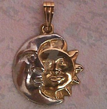 Vintage 9ct Gold Sun and Moon Pendant by sevvysgirl