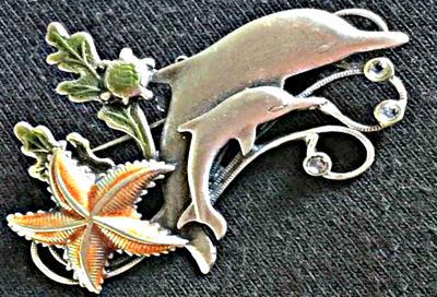 Vintage 'KC' Dolphins Sealife Brooch by sevvysgirl
