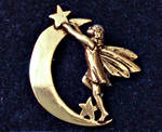 Vintage Gold-tone 'MASJ' Fairy and Moon Brooch