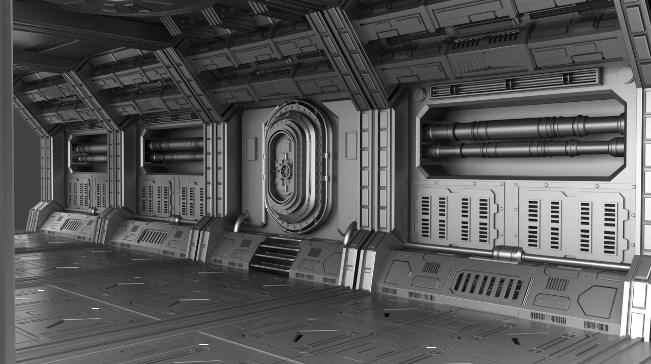 Sci-fi corridor concept - 3d model by metonymic