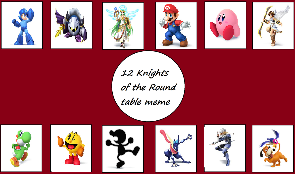 The 12 Knights of the Smash Bros Table by SuperMarioMaster170