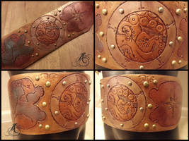 Nautical Portcullis Leather Belt by JAFantasyArt
