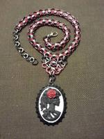 Dia de los Muertos Cabochon Chainmail Necklace by JAFantasyArt