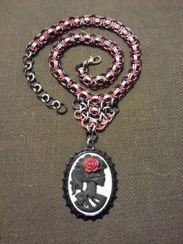 Dia de los Muertos Cabochon Chainmail Necklace