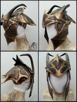 Black Mantis Dragon Leather Helmet by JAFantasyArt