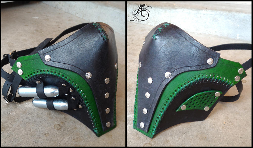 Green Leather Rebreather Half Mask