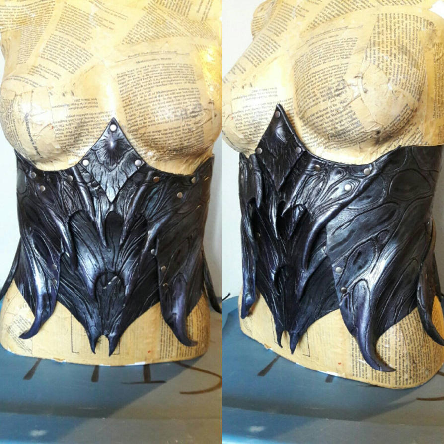 Abyssal Demon Leather Corset by JAFantasyArt