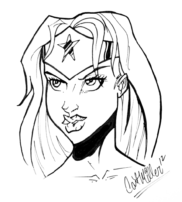 Wonder Womanu0026#39;s Head Sketch By Carl Miller By AirbrushAce On DeviantArt