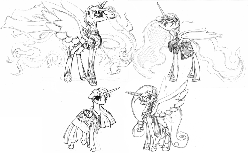 Derpy armor sketches (Alicorns) by RussianKolz on DeviantArt