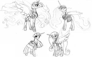Derpy armor sketches (Alicorns) by RussianKolz