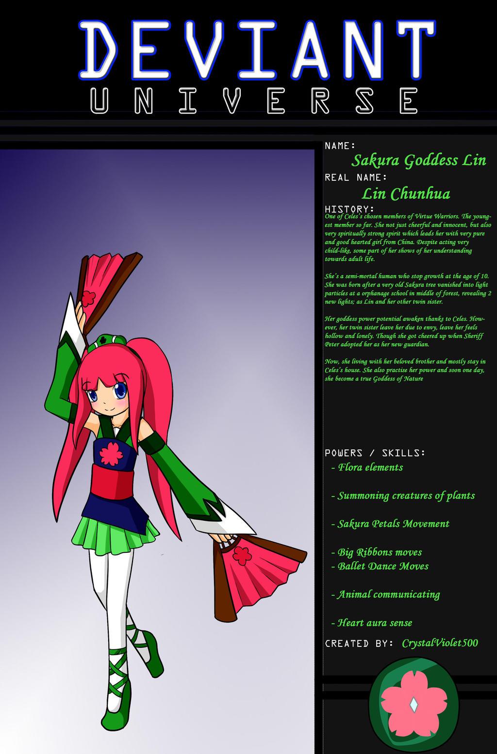 DeviantUniverse - Sakura Goddess Lin by CrystalViolet500