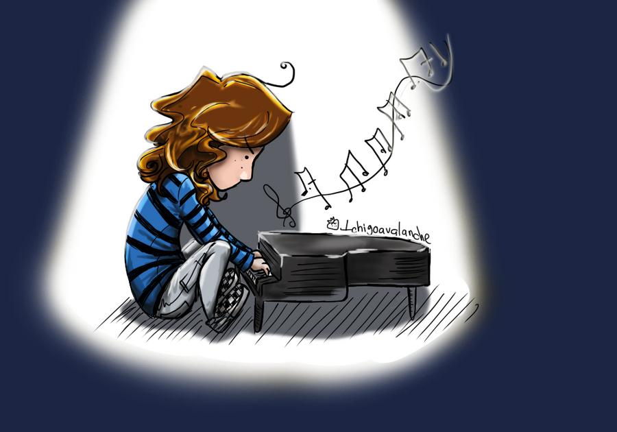 Dibuix de noia tocant un piano de cua