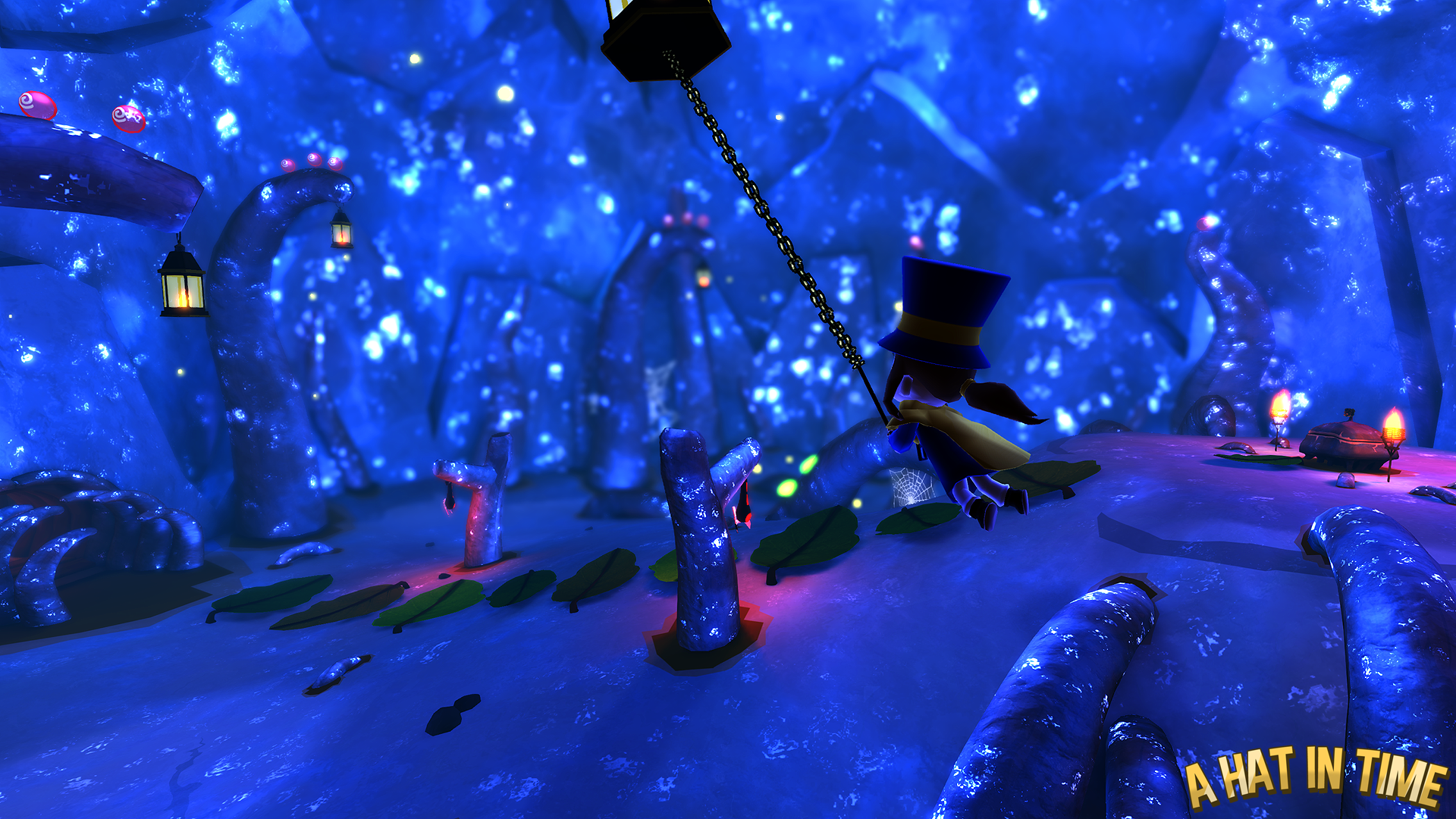 Hat Kid Swinging in the Crystal Cave by Habboi