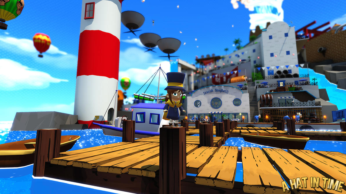 Hat Kid Chilling on the Mafia City Docks by Habboi