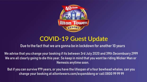 Alton Towers Coronavirus 2020 Update (FAKE)