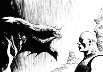 Riddick vs Monster Sketch by anghorkheng