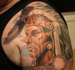 Native American w Bald Eagle