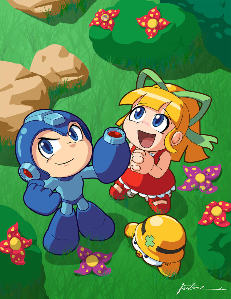 Megaman and Roll Dayout by Furboz
