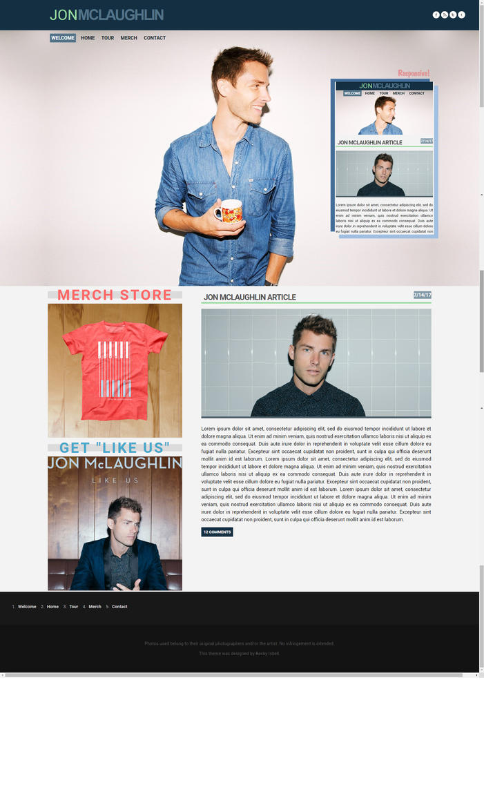 Full Version Jon McLaughlin Website Design by BurningBrightDesigns
