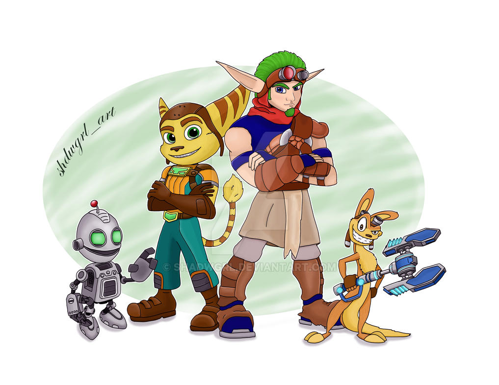 Jak and Daxter meet Ratchet and Clank by shadwgrl
