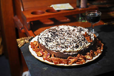 Flourless Chocolate Cake w Raspberry Infused Cream