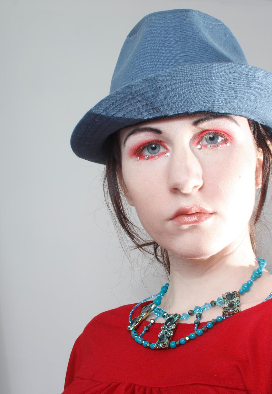 Blue hat red dress by Sinned-angel-stock