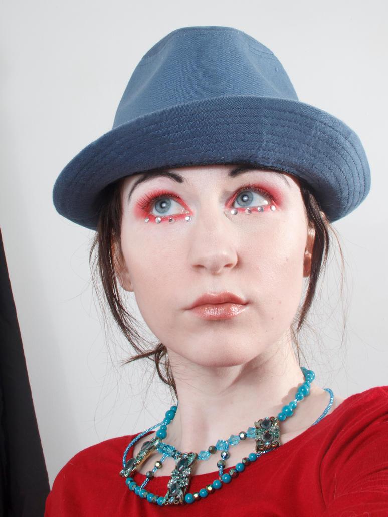 Blue hat red dress 2 by Sinned-angel-stock