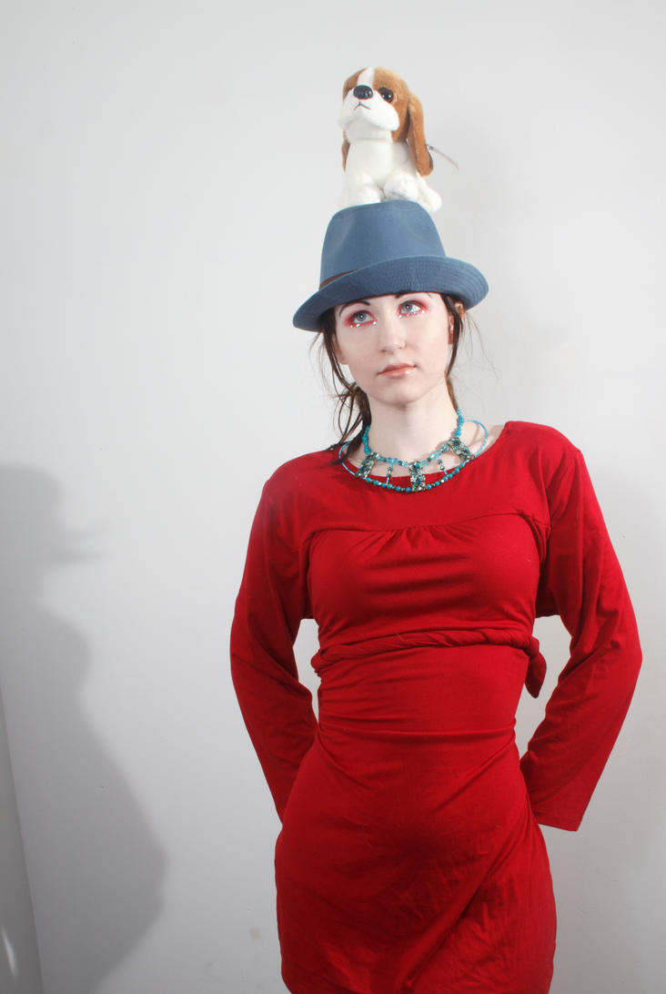 Blue hat red dress dog on head by Sinned-angel-stock