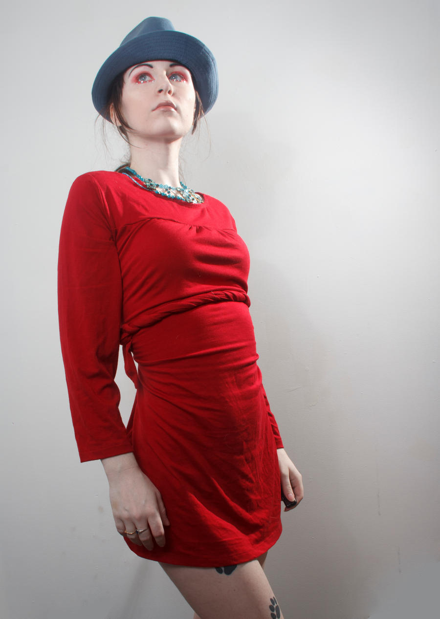 Blue hat red dress boring stand by Sinned-angel-stock