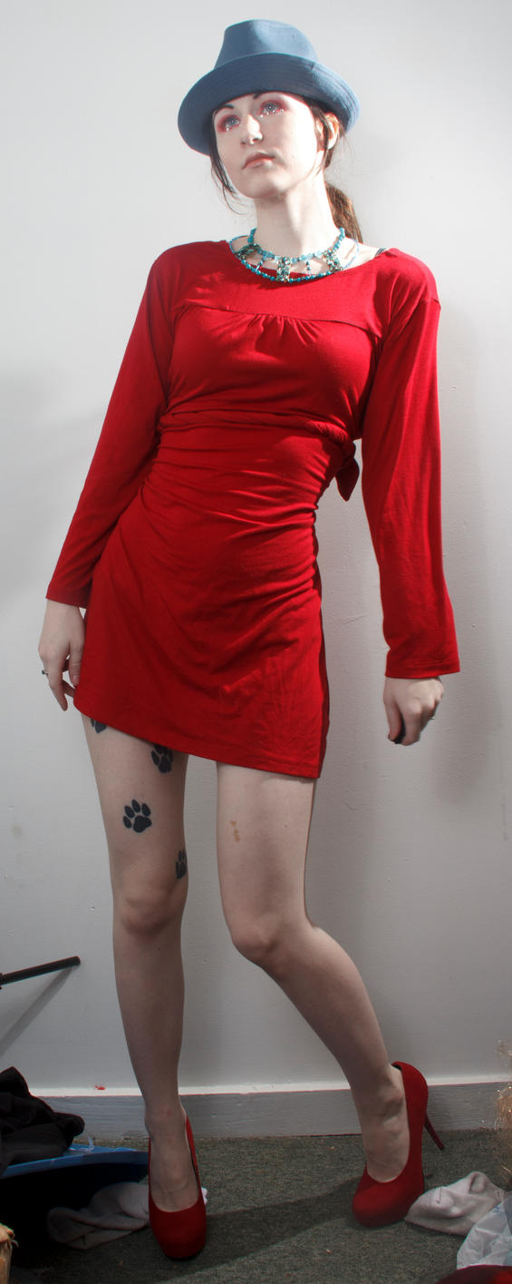 Blue hat red dress stand funny by Sinned-angel-stock