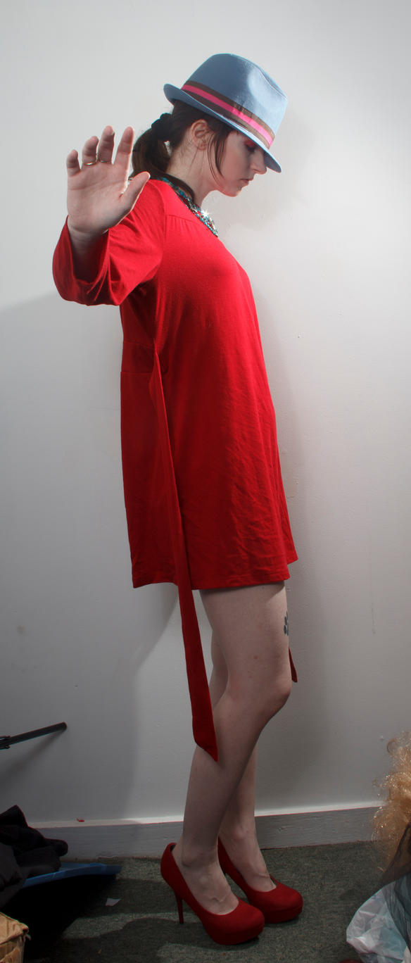 Blue hat red dress no by Sinned-angel-stock