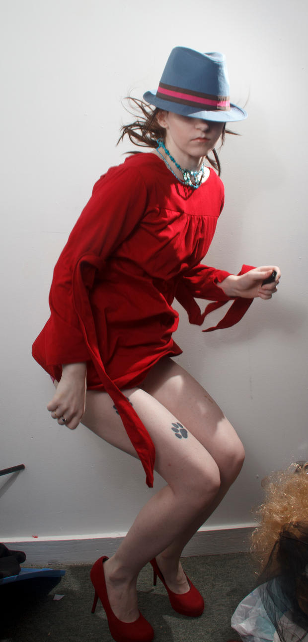 Blue hat red dress jumpfail by Sinned-angel-stock