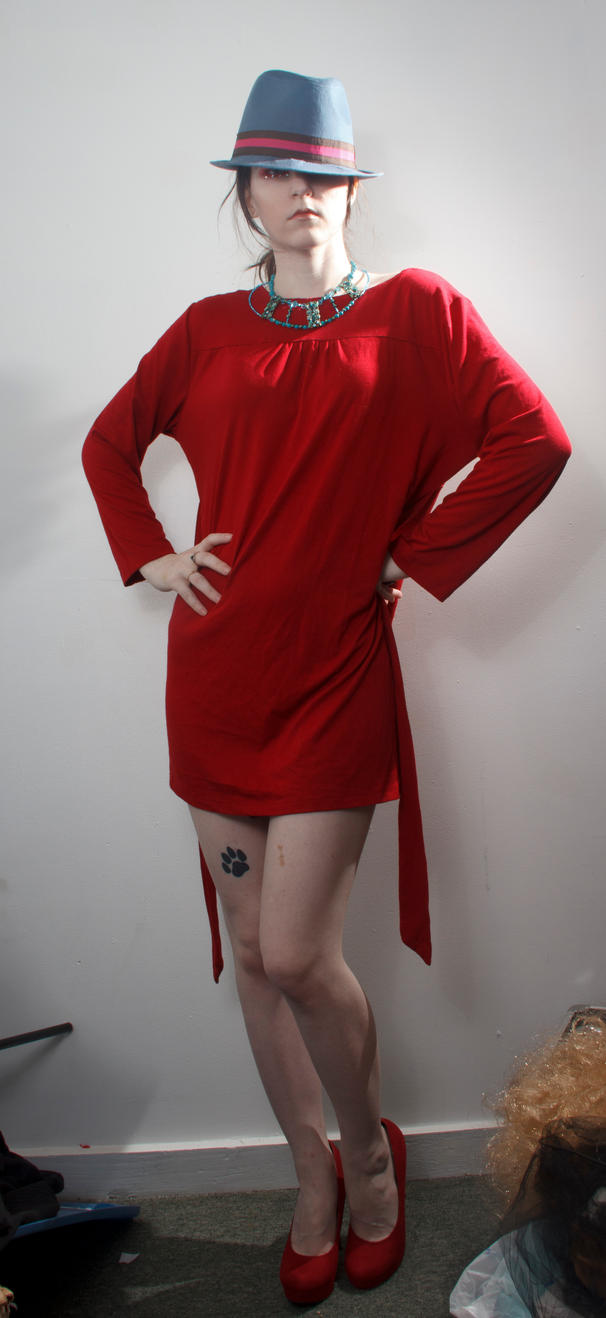 Blue hat red dress hands on hips by Sinned-angel-stock