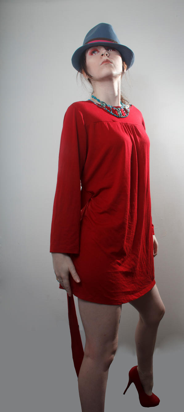 Blue hat red dress big mama by Sinned-angel-stock