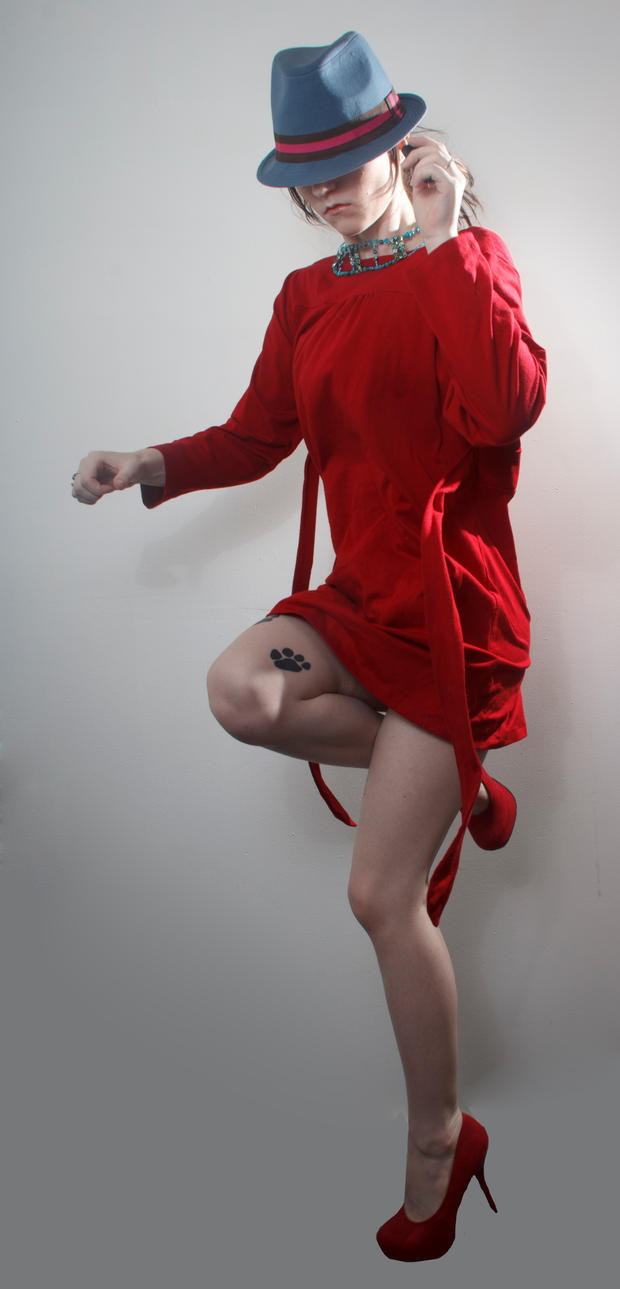 Blue hat red dress jumpy by Sinned-angel-stock