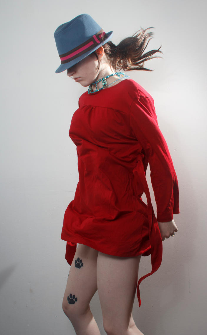 Blue hat red dress jumpy 2 by Sinned-angel-stock