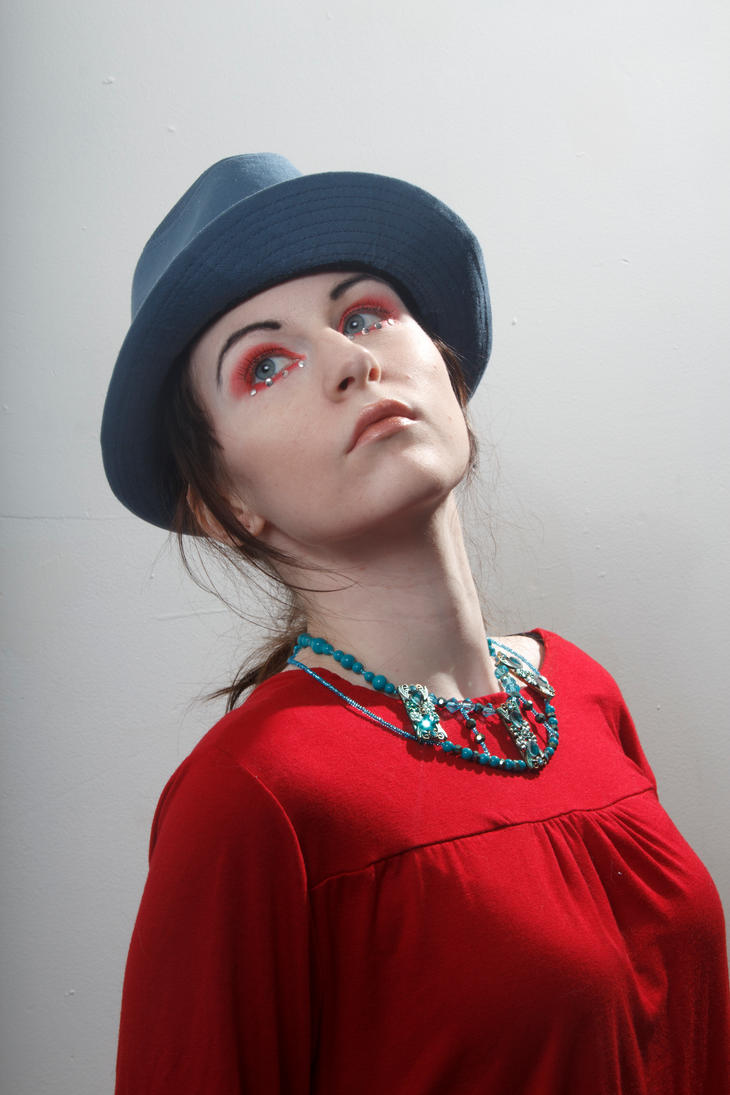 Blue hat red dress head up by Sinned-angel-stock