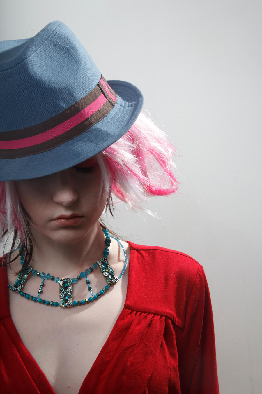 Blue hat red dress pink wig by Sinned-angel-stock