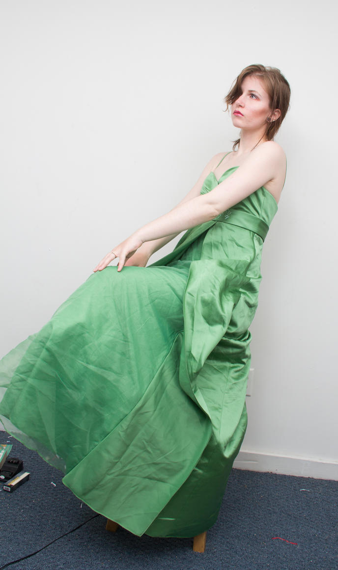 Green gown sitting by Sinned-angel-stock