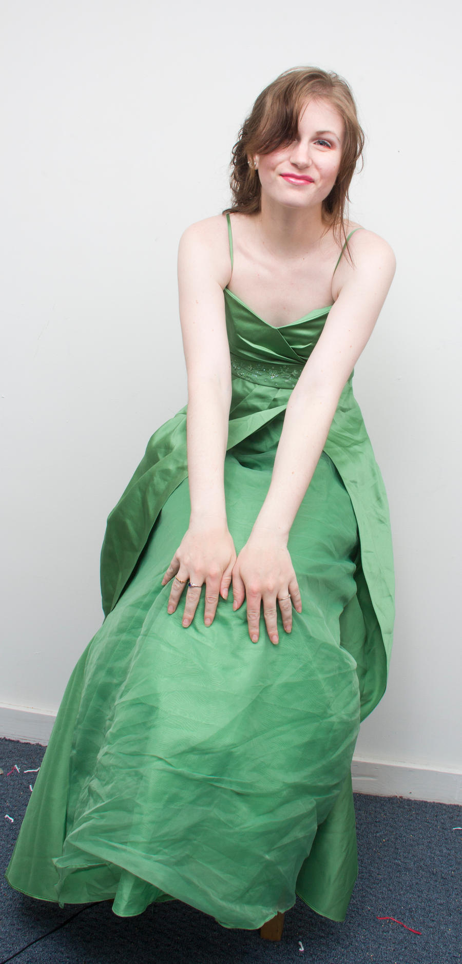 Green gown grin by Sinned-angel-stock