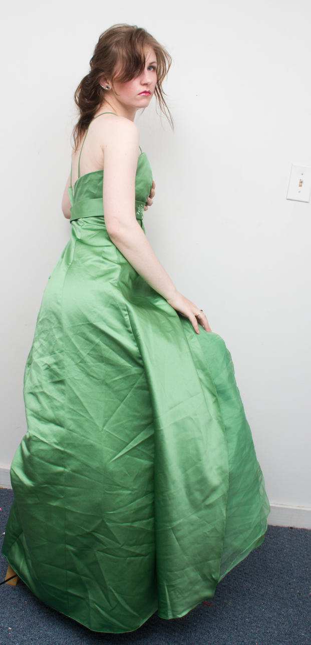 Green gown over the shoulder by Sinned-angel-stock